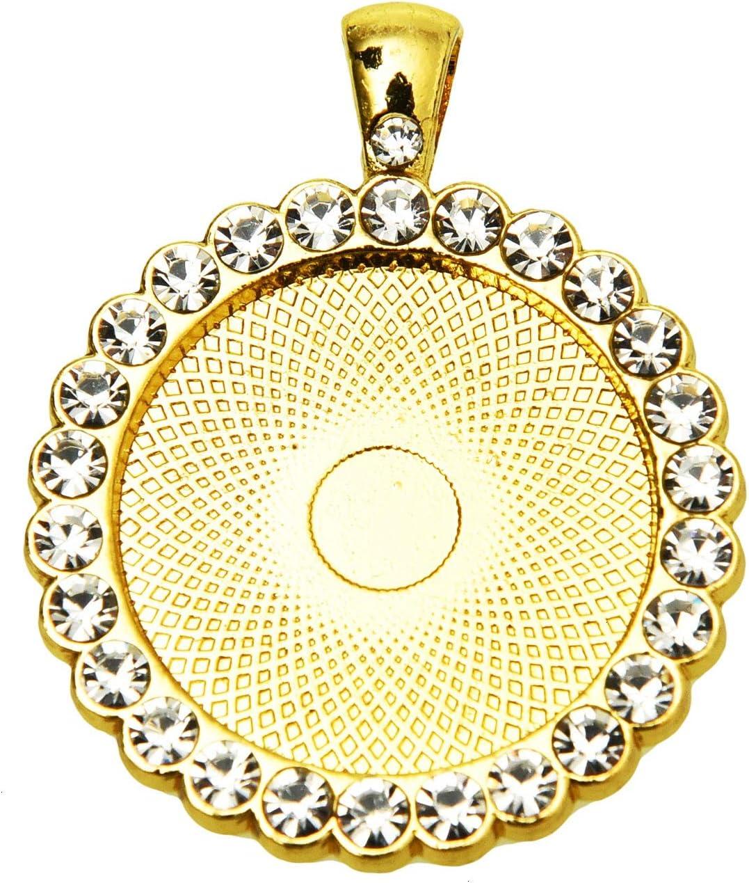 10Pcs 25mm Base Blank Bezel Cabochon Setting Jewelry Round Pendant Trays UK
