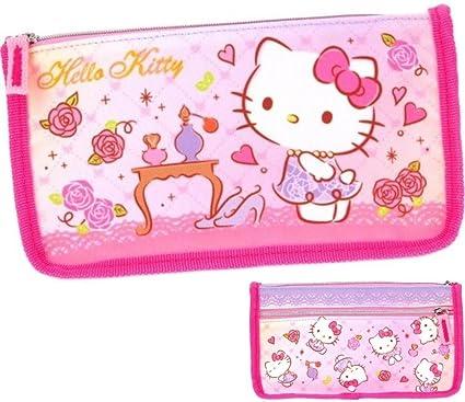Hello Kitty dos cremallera bolsa neceser estuche para lápices: Amazon.es: Oficina y papelería