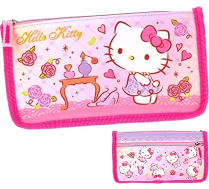 a3531cb99 Image Unavailable. Image not available for. Color: Hello Kitty TWO Zipper Pouch  Pencil Pen Case Cosmetic Bag