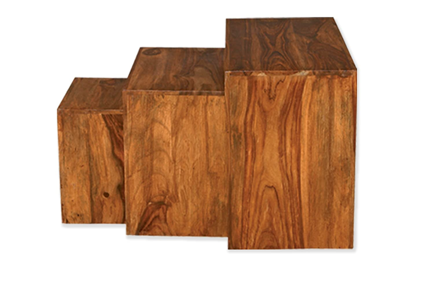 Cube Indian Rosewood Nest of Tables/Solid Sheesham Indian Rosewood Nesting Tables/Modern Living Room Furniture
