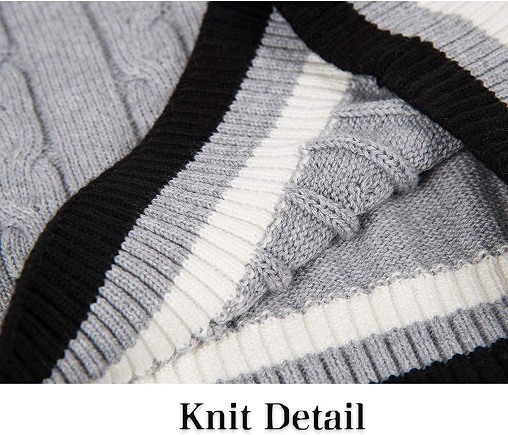 BOBOYOYO Boys Pullover Sweater V-Neck School Uniform Sweater Long Sleeve Cotton Cable Knit Sweater with Stripes 5-12Y