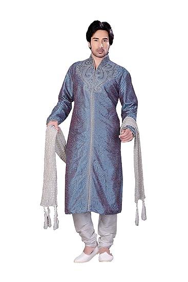 65aa2c808c3 Amazon.com  Indian Fashion Eye-catching Art ART DUPIN SILK Fabric LIGHT  BLUE 2 TON Color Readyma  Clothing