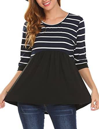 Soteer Women's Printed Striped Babydoll Tunic 3/4 Sleeve Shirts Scoop Neck  Casual Loose Peplum