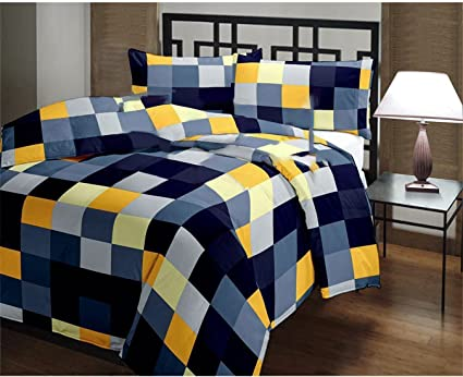 Shopbite Checked Design Microfiber Single Bed Reversible Quilt/AC Blanket/Dohar, Multi-coloured