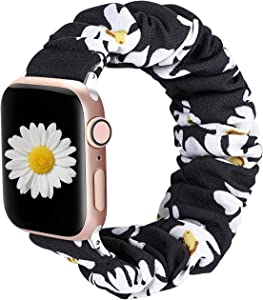 ALNBO Compatible with Apple Watch Band 38mm 40mm 42mm 44mm Soft Floral Fabric Elastic Scrunchies iWatch Bands for Apple Watch Series 6,SE,5,4,3,2,1 38mm/40mm Sunflower S