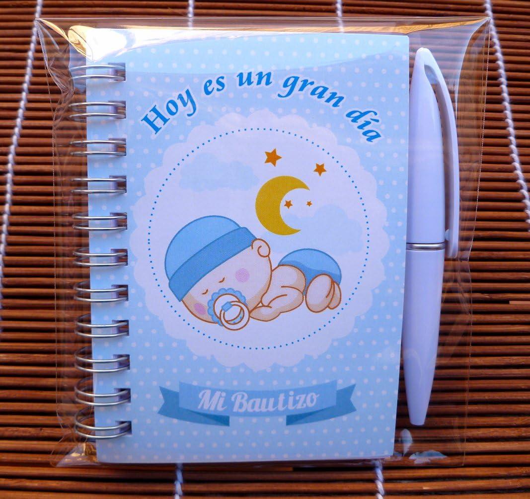 Recuerdos, Regalos y Detalles Originales Para Invitados Bautizo y Baby Shower Niño - Pack 15 Libretas con Mini Bolígrafo - ¡Tus Familiares y Amigos Alucinarán!