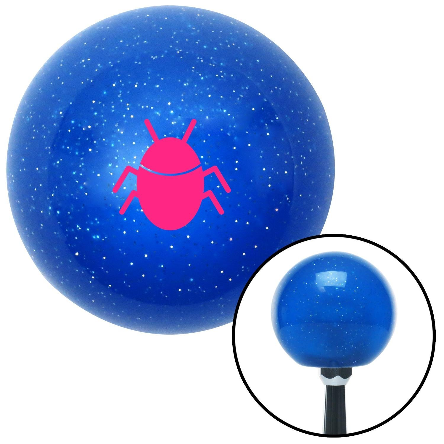 American Shifter 276029 Shift Knob Pink Bug Blue Metal Flake with M16 x 1.5 Insert