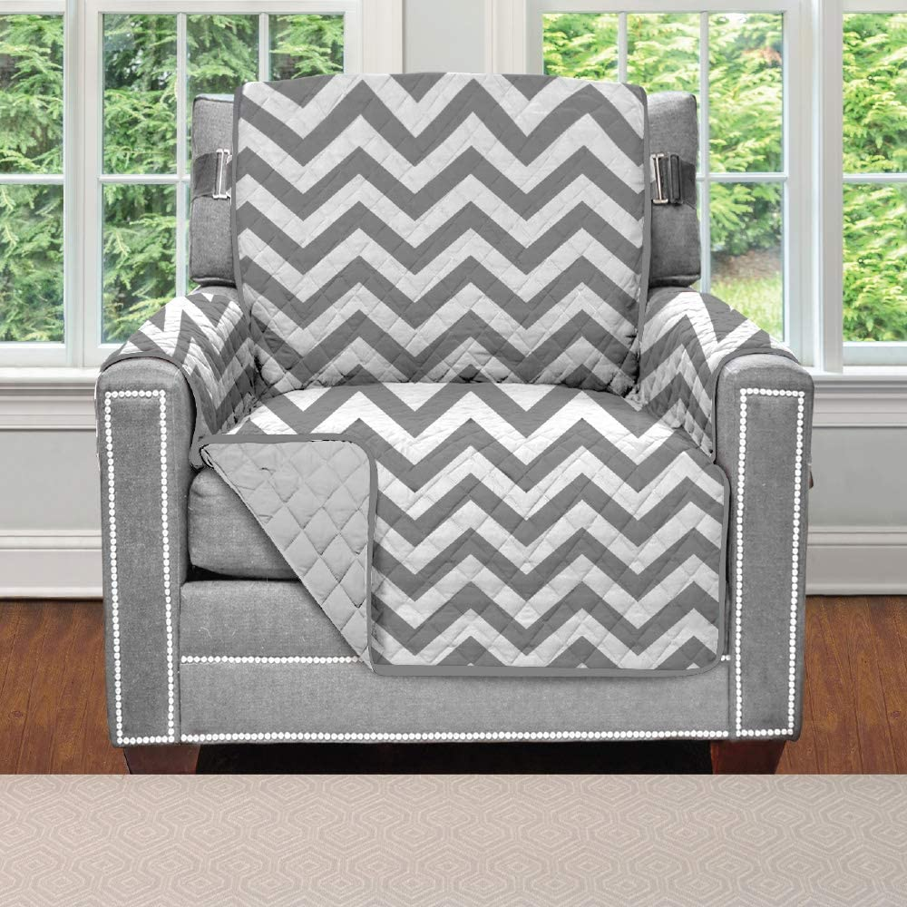 Sofa Shield Original Patent Pending Reversible Chair Protector for Seat Width up to 23 Inch, Furniture Slipcover, 2 Inch Strap, Chairs Slip Cover Throw for Pets, Kids, Cats, Armchair, Chevron Gray