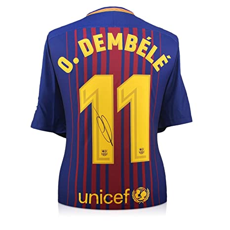 297950246bba9 exclusivememorabilia.com Camiseta de fútbol Barcelona 2017-18 firmada por  Ousmane Dembele