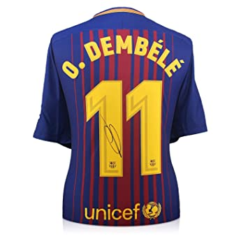 exclusivememorabilia.com Camiseta de fútbol Barcelona 2017-18 firmada por Ousmane Dembele