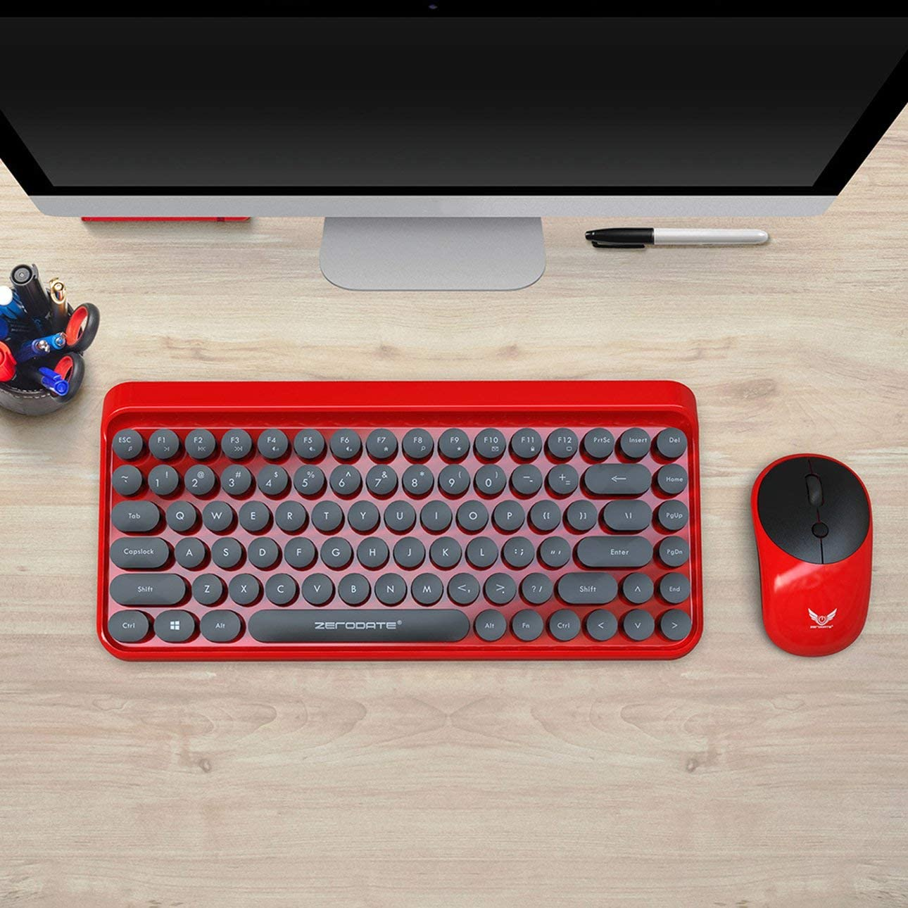 Liobaba New 2.4G Wireless Keyboard and Mouse Set Retro Punk Round Mute Mouse and Keyboard