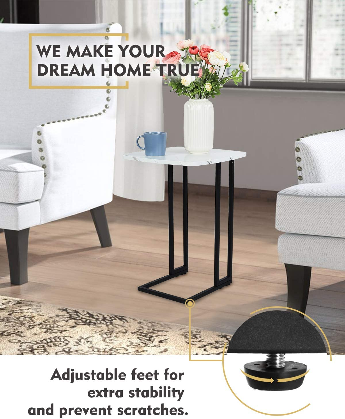 Moncot Side Table, Mobile Sofa End Table, Accent C Table,TV Tray with Detachable Wheels,Slides into Couch for Small Space,Living Room, Bedroom, MDF Table Top with White Marble Texture, ET220A-WH: Kitchen & Dining