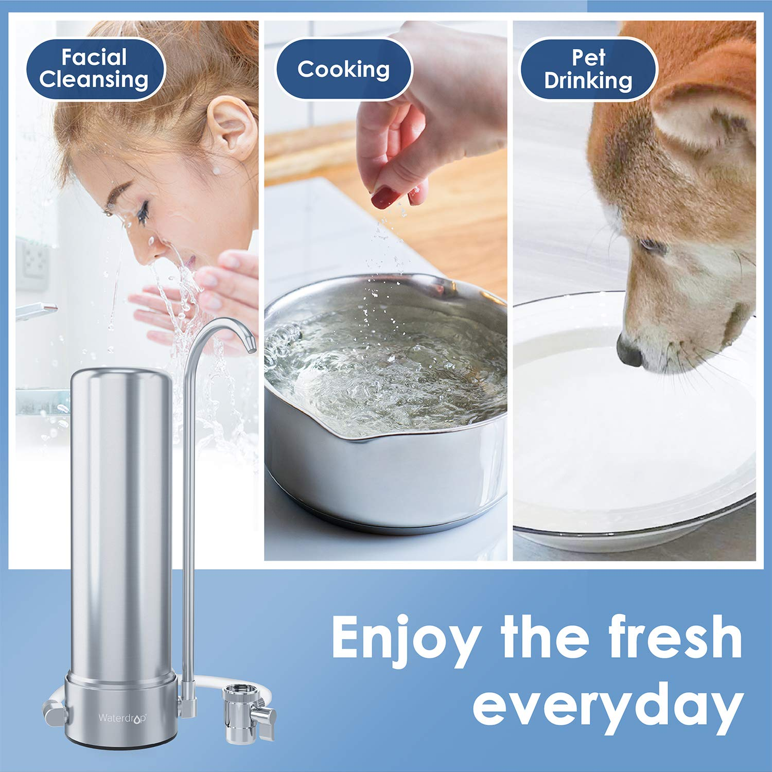 Heavy Metals Waterdrop WD-CTF-01 Tap Water Filter Purifier Long-Lasting Faucet Water Filter Bad Taste 1 Filter Included Reduce Chlorine 5-Stage Stainless Steel Countertop Filtration System