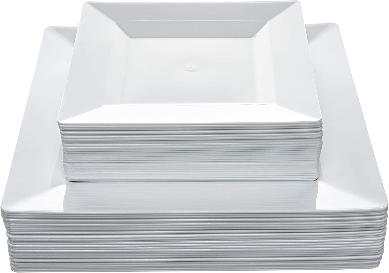 "Disposable Square Plastic Plates - 60 Pack - 30 x 9.5"" Dinner and 30 x 6.5"" Salad Combo - Premium Heavy Duty- By Aya's Cutlery Kingdom"