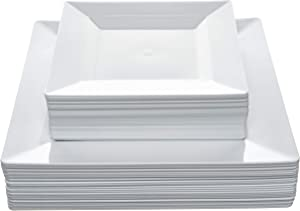 """Disposable Square Plastic Plates - 60 Pack - 30 x 9.5"""" Dinner and 30 x 6.5"""" Salad Combo - Premium Heavy Duty- By Aya's Cutlery Kingdom"""