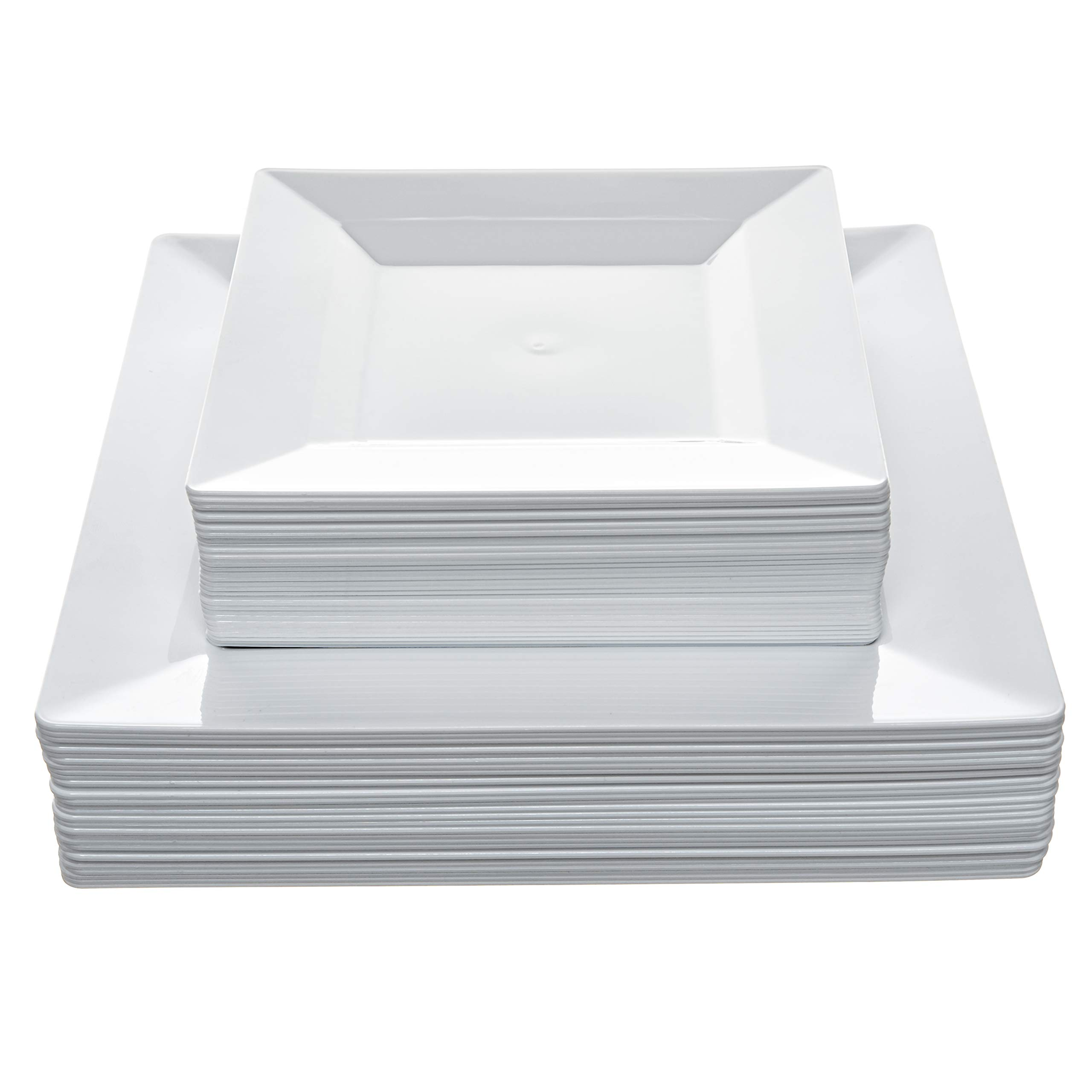 Disposable Square Plastic Plates - 60 Pack - 30 x 9.5'' Dinner and 30 x 6.5'' Salad Combo - Premium Heavy Duty- By Aya's Cutlery Kingdom by Aya's Cutlery Kingdom