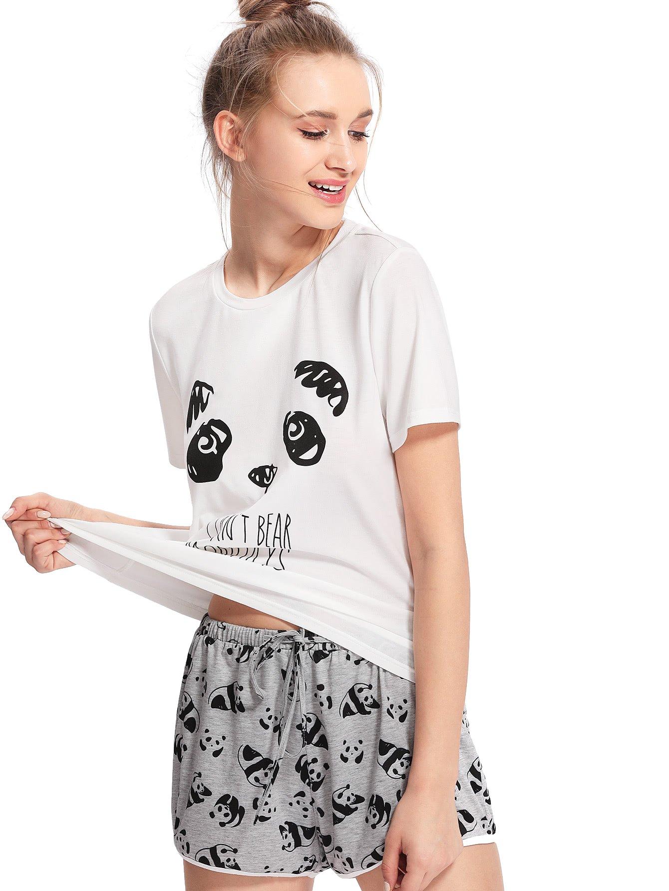 SheIn Women's Cute Cartoon Print Pajama Set Tee & Shorts Sleepwear X-Small Grey