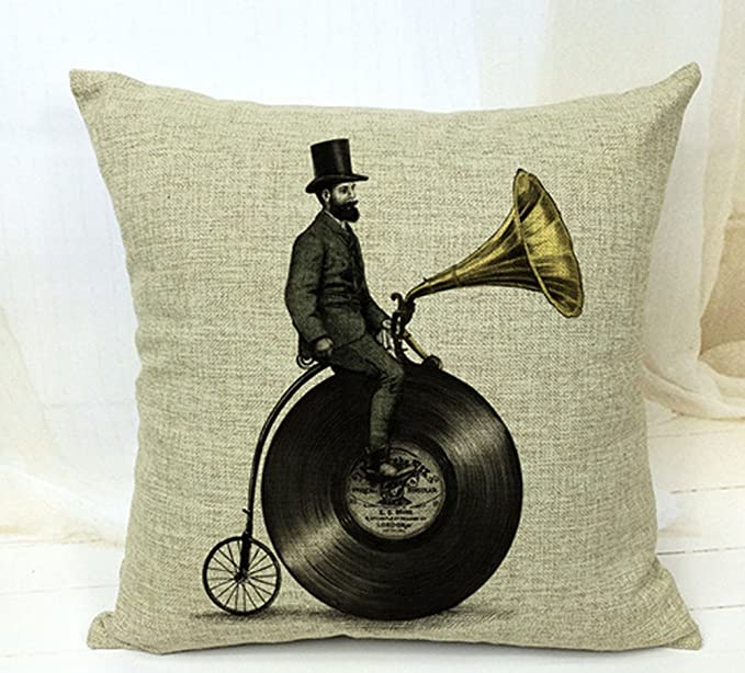Abstract Gramophone Bike And A Man Throw Pillow Case Cushion Cover Decorative Cotton Blend Linen Pillowcase For Sofa 18 X 18 Amazon Co Uk Electronics