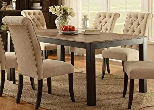 Furniture of America Giano Dining Table with Metal Legs, Weathered Elm/Black