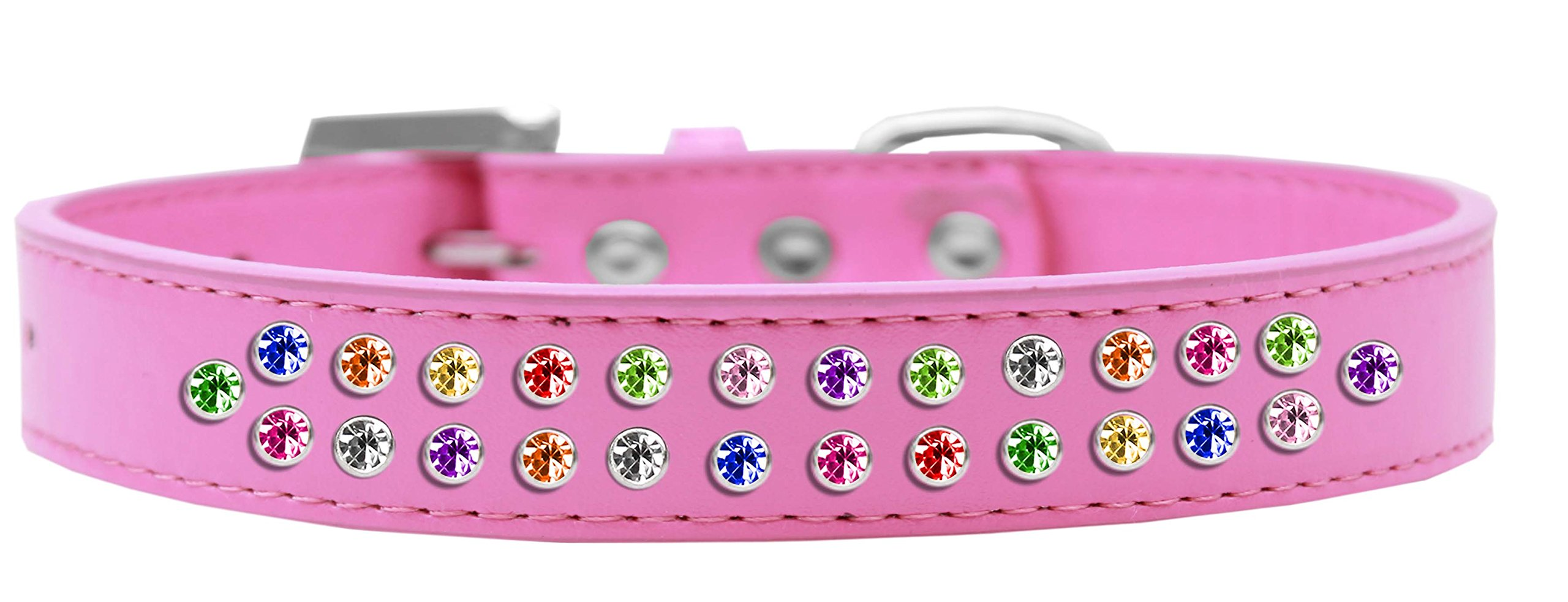 Mirage Pet Products Two Row Confetti Crystal Bright Pink Dog Collar, Size 20 by Mirage Pet Products