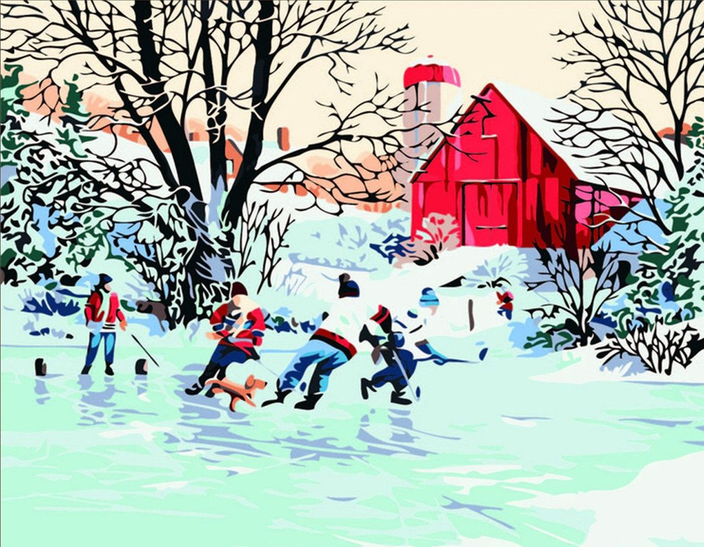 [ New Release, Wooden Framed or Not ] Diy Oil Painting by Numbers, Paint by Number Kits - Iceberg Hockey 16*20 inches - PBN Kit for Adults Girls Kids White Christmas New Year Decor Decorations Gifts