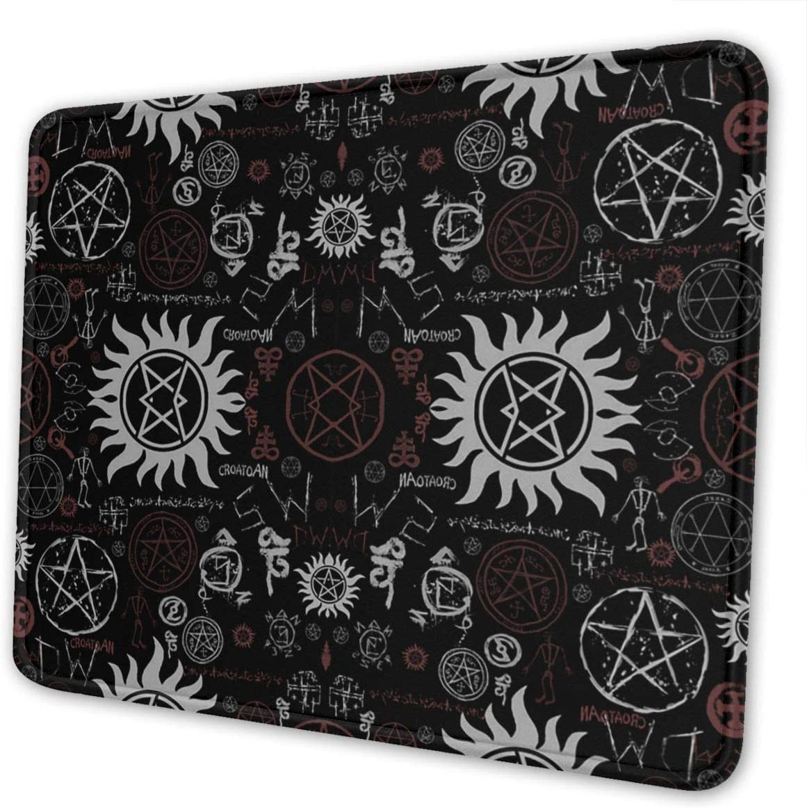 Mouse Pad Supernatural Symbols Black Gaming Mousepad with Stitched Edges Non-Slip Rubber Base for Computers Laptop Office & Home