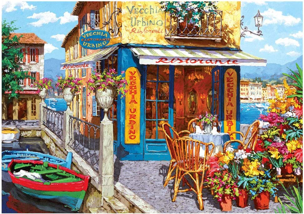 1000 Pieces Jigsaw Puzzles for Adults, Spring Landscape 18×11 Inch Large Puzzles, Colorful Flower Difficult Puzzle Art for Men and Women (Cafe)