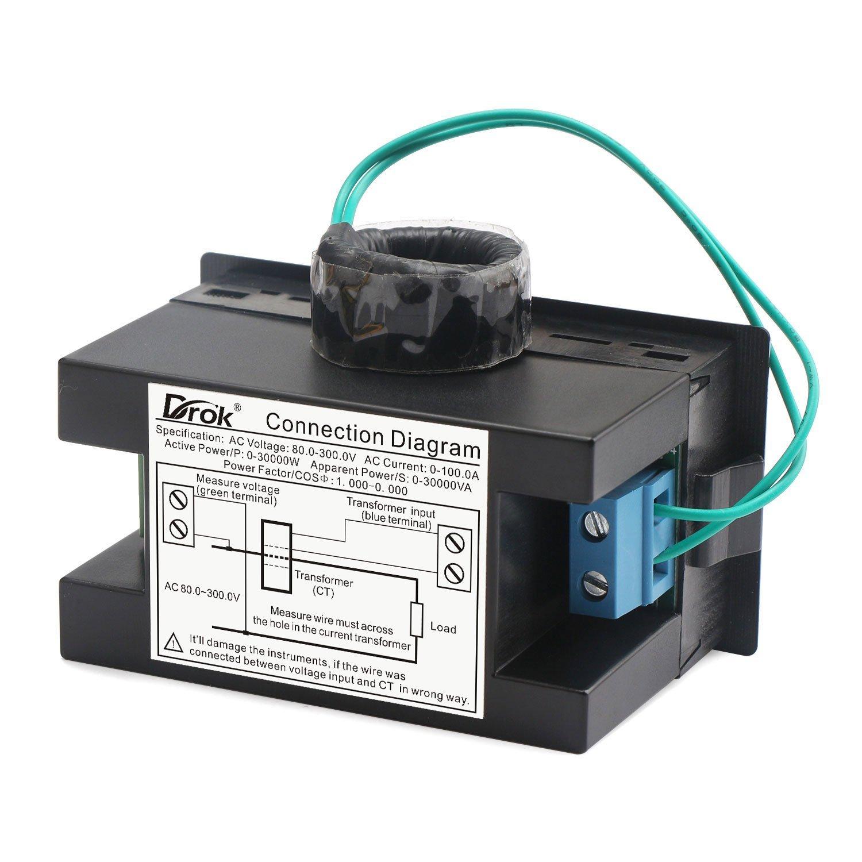 Drok Digital Multimeter Ac 80 300v 100a Volt Amp Active Apparent Circuit Breaker Wiring Diagram Power Factor Meter