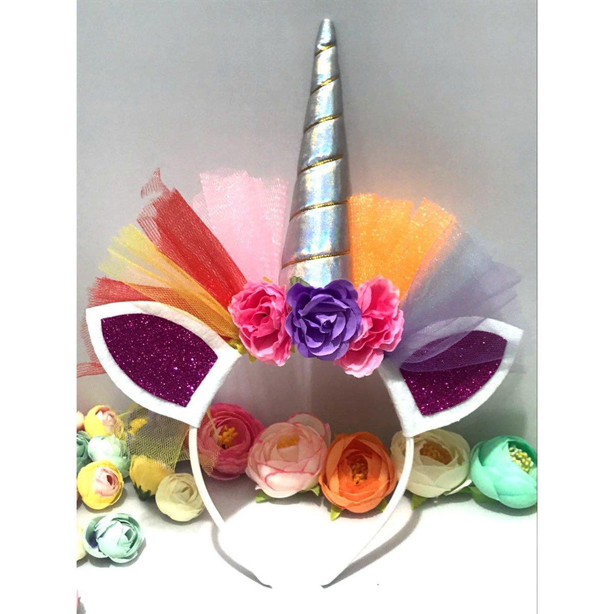 32b8696781c3 Frcolor Serre-tête Licorne Floral Bandeau Corne aux Oreilles Accessoire de  Anniversaire Fête Déguisement pour
