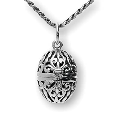 Sterling silver filigree aromatherapy egg locket pendant prayer sterling silver filigree aromatherapy egg locket pendant prayer holder pill box necklace 20quot aloadofball Gallery