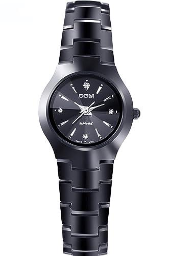 Dom Mujer Negro Lujo Acero de tungsteno Marcas de Relojes Analogico Quartz: Amazon.es: Relojes