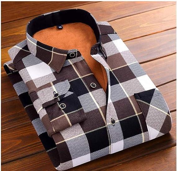 Camisa cálida de Invierno más Terciopelo Engrosamiento Camisa a Cuadros con Estampado de Moda Camisa de Vestir de Marca de Manga Larga para Hombre Talla L-5XL-Color4_5XL: Amazon.es: Ropa y accesorios