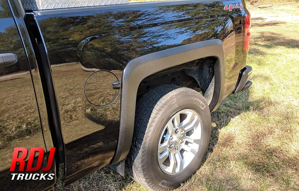RDJ Trucks HWY-PRO OEM Style Fender Flares Smooth Paintable Black Fits Chevrolet Silverado 1500//2500HD Set of 4
