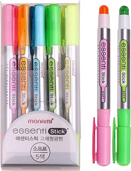 Monami Essenti Stick Soft Pastel Color Dry Highlighter Pen Marker 5 Color (Pack of 5 Pens): Amazon.es: Oficina y papelería