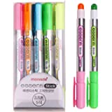 Monami Essenti Stick Soft Pastel Color Dry Highlighter Pen Marker 5 Color (Pack of 5 Pens)