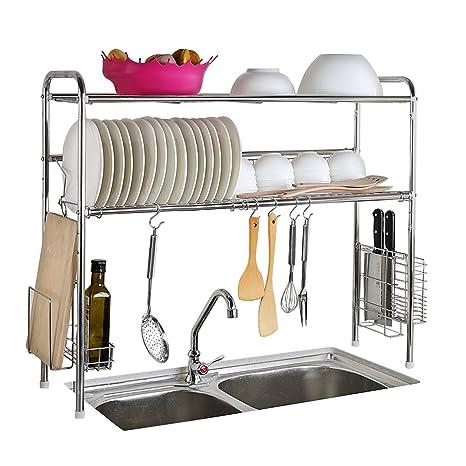 1208s secador de plato accesorio de fregadero de acero inoxidable de 2 niveles estante de almacenamiento