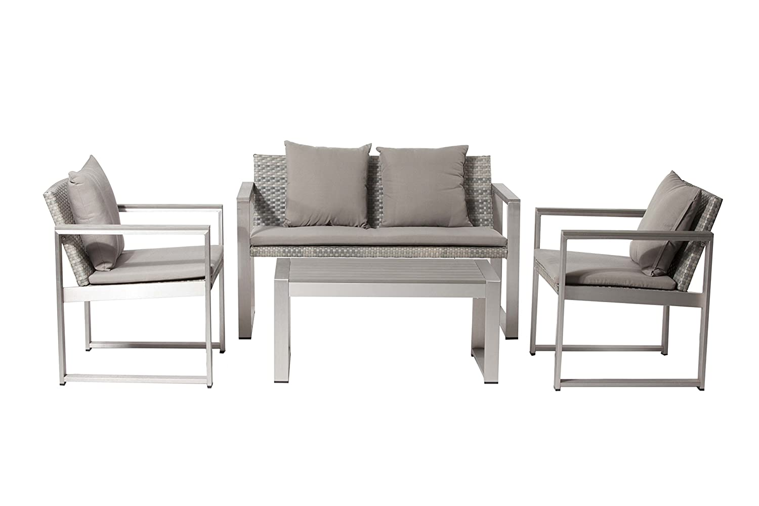 Amazon.com: Pangea Home Chester-1+2+CT Set Gray Chester Sofa ...