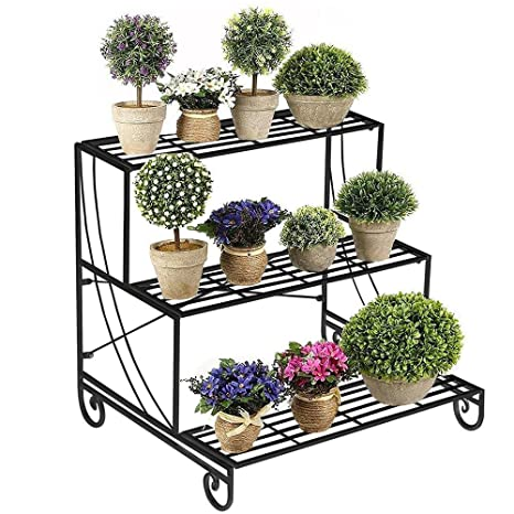 Yaheetech 3 Tier Stair Style Metal Plant Stand Patio Iron Plant Rack  Outdoor/Indoor Garden