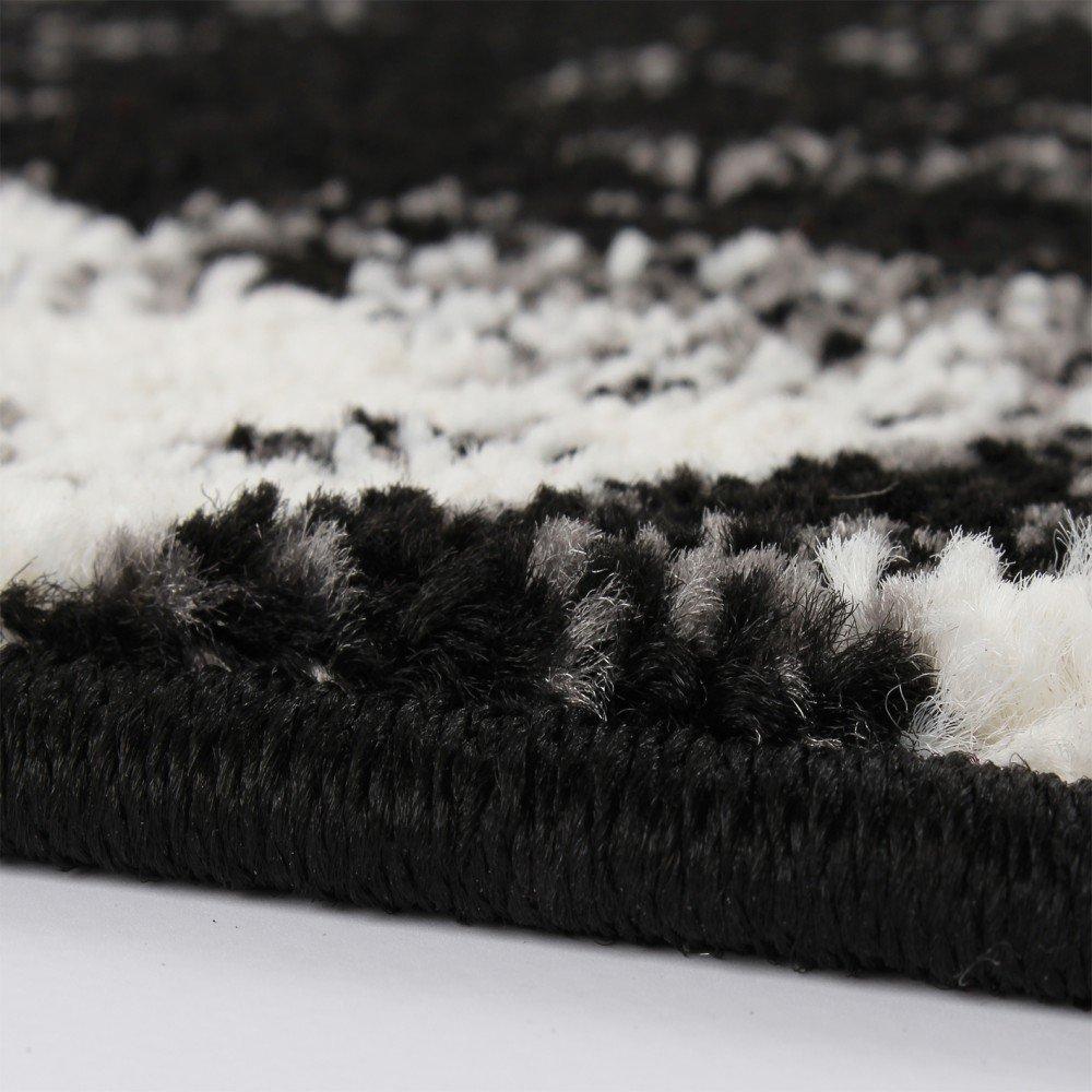 Designer teppich trendiger kurzflor teppich in schwarz grau ...
