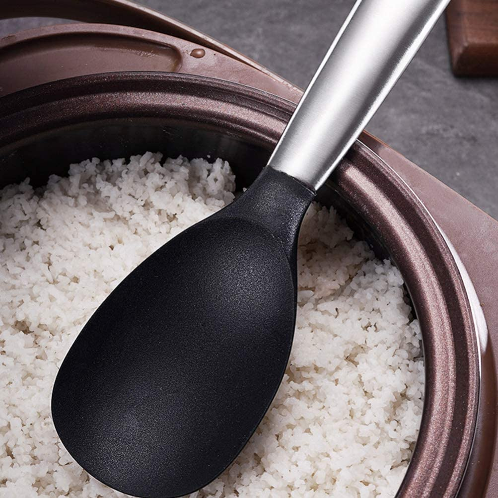 PIXNOR Cuchara de Silicona para Servir Arroz con Mango Largo de Acero Inoxidable Esp/átula de Arroz de Silicona Cuchara de Arroz Utensilios de Cocina