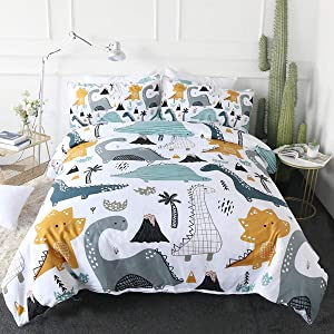 ARIGHTEX Dinosaur Print Bedding for Twin Size Bed Boys Cute Ancient Animal Duvet Cover Hand Drawn Dino 3 Pieces Kids Cartoon Comforter Cover Set