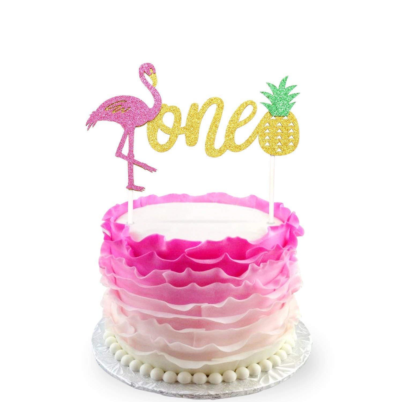 Amazon.com: JeVenis Glitter Flamingo Pineapple 1st First Birthday ...