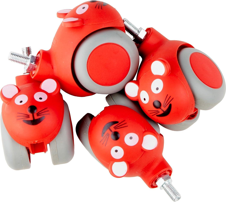 NRS - Ruedas para la mesa auxiliar de NRS (4 unidades), diseño ratones, color rojo