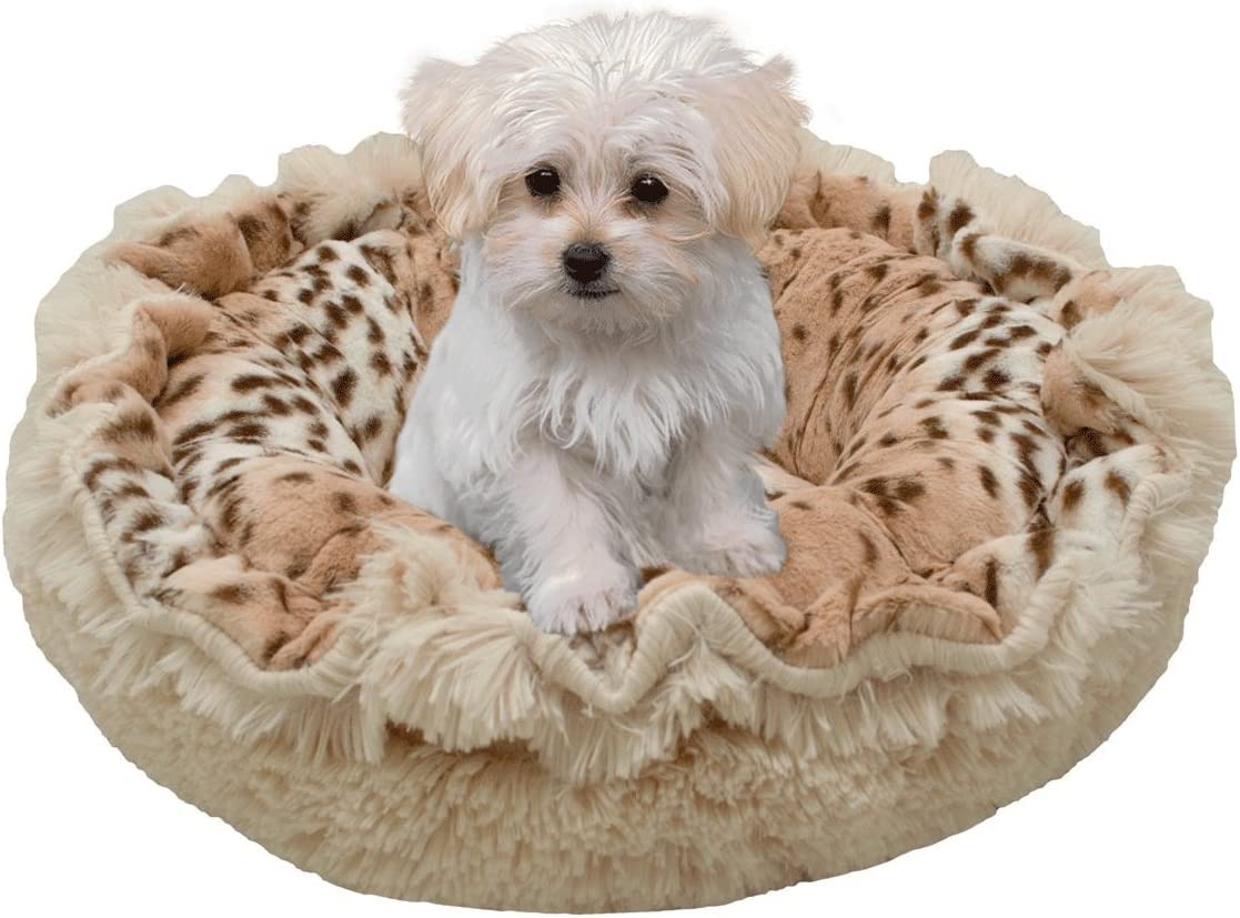 Bessie and Barnie Ultra Plush Aspen Snow Leopard Blondie Deluxe Luxury Shag Dog Pet Lily Pod Bed Machine Washable
