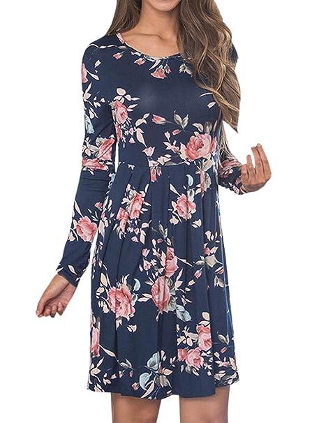 Frühling und Herbst Damen Kurz Kleid Freizeit Druck Shirt Kleider  Strandkleider Blusenkleider Mode Rundhals Langarm Kleid Tunikakleid  Cocktailkleid ... 8fc7c6dea2