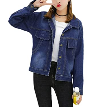 Henraly Women Basic Coat Bleached Women Denim Coats For Women Tops Boyfriend chaquetas mujer WICCON BlueS