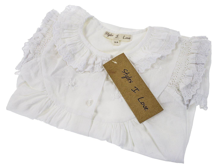 c9910e6c052 Amazon.com  stylesilove Handmade Girls  Embroidered Lace Vintage Inspired  Cotton White Night Dress - Age 2-12  Clothing