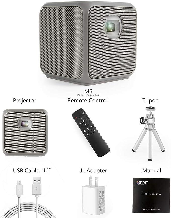 XPRIT - Proyector portátil Smart Cube DLP para Camping con Wi-Fi y ...