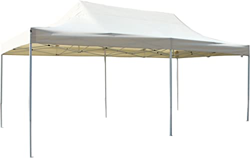 ALEKO GZF10X20BG Foldable Pop Up Polyester Gazebo Canopy Patio Coffee Shelter 10 x 20 Feet Cream