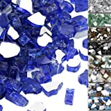 QuliMetal 1/2 Inch Fire Glass, Cobalt Blue High Luster Reflective Tempered Glass Rocks for Indoor Outdoor Fireplaces, Fire Pi